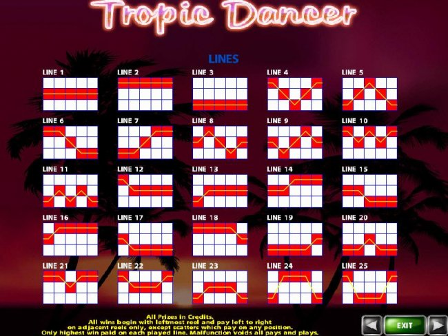 Payline Diagrams 1-25. All prizes in credits. All wins begin with leftmost reel and pay left to right on adjacent reels only, except scatters which pay on any position. Only highest win paid on each played line. by Free Slots 247