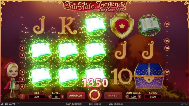 Free Slots 247 - Multiple winning paylines triggers a 1350 coin big win!