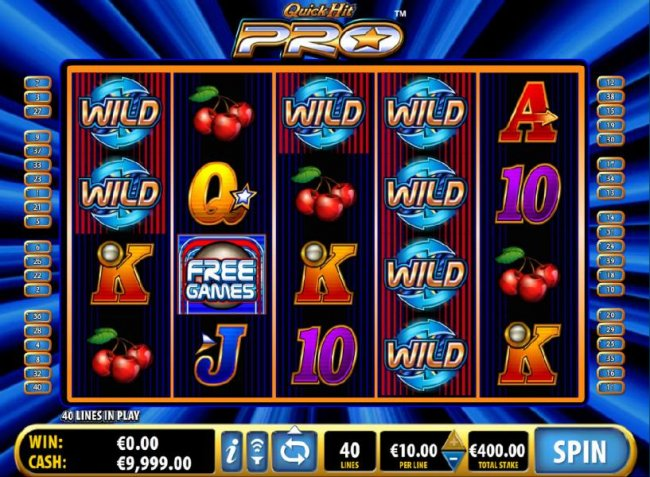 Free Slots 247 - Main game board featuring five reels and 40 paylines with a $10,000 max payout