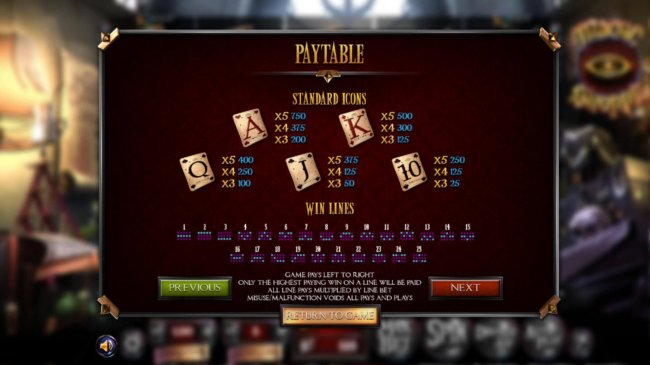 Low value game symbols paytable. - Free Slots 247
