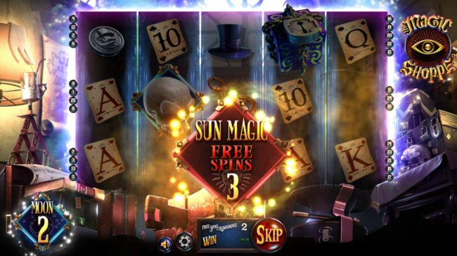 Free Slots 247 - 3 Sun Magic Free Spins awarded.