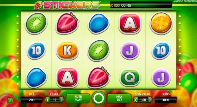 Free Slots 247 - Main game board featuring five reels and 20 paylines with a $80,000 max payout