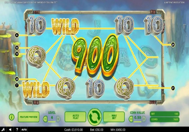 Free Slots 247 - Multiple winning paylines triggers a 450.00 big win!