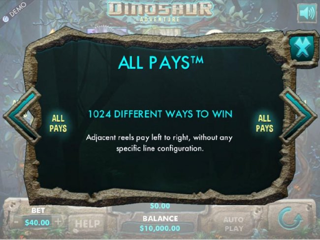 1024 different ways to win. Adjacent reels pay left to right, without any specific line configuration. by Free Slots 247