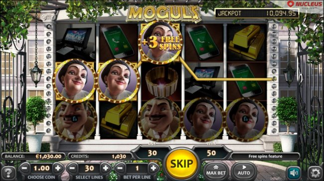 Free Spins feature triggered when 3 character symbols appear on a payline and at least one  has an small f overlay icon - Free Slots 247