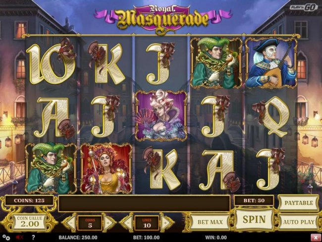Main game board featuring five reels and 10 paylines with a $5,000,000 max payout - Free Slots 247