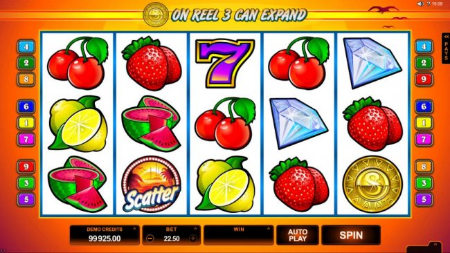 Main game board featuring five reels and 9 paylines with a $75,000 max payout by Free Slots 247