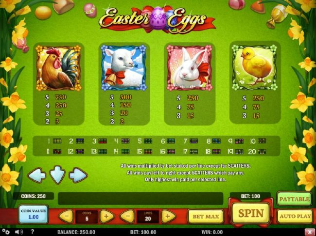 High value slot game symbols paytable and Payline Diagrams - Free Slots 247