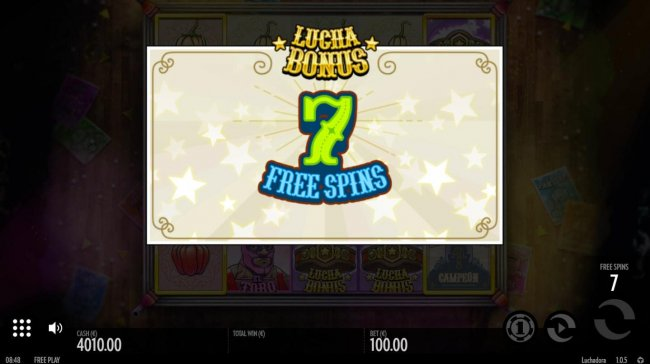 Free Slots 247 - 7 free spins awarded.