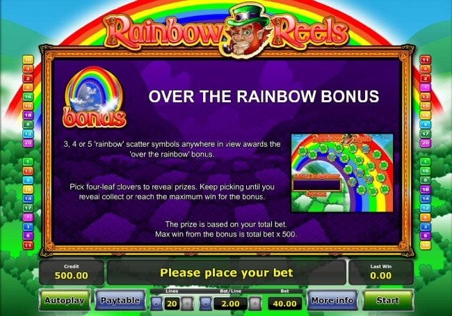 3, 4 or 5 Raindow scatter symbols anywhere in view awards the Over the Rainbow Bonus. by Free Slots 247