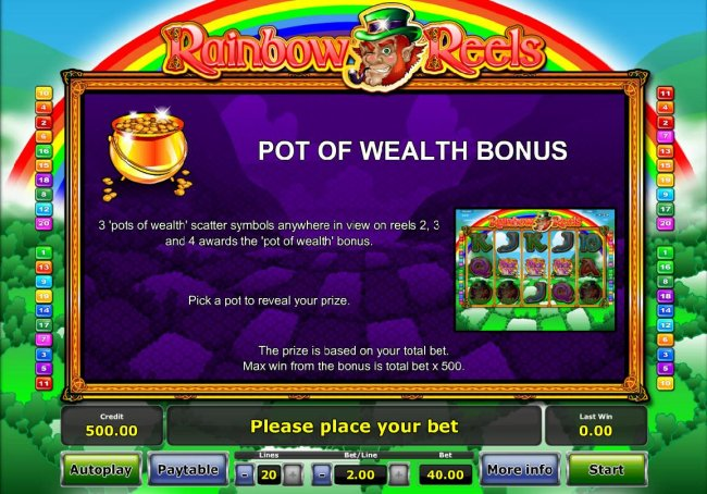 3 Pots of Wealth scatter symbols anywhere in view on reels 2, 3 and 4 awards the Pot of Wealth Bonus - Free Slots 247