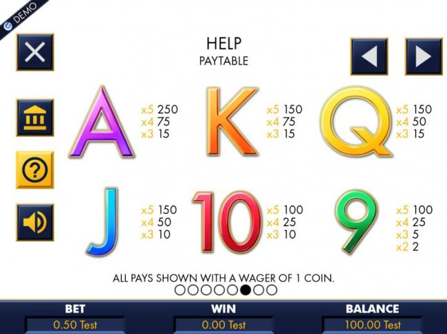 Free Slots 247 - Low value game symbols paytable.