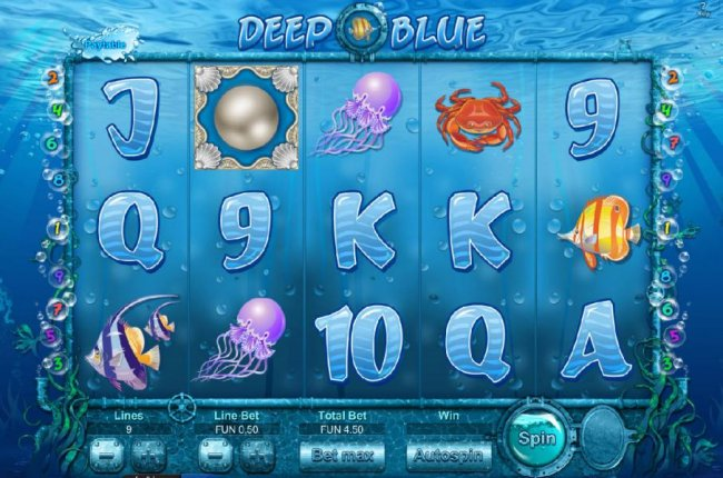 Free Slots 247 - Main game board featuring five reels and nine paylines
