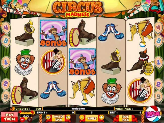 Main game board featuring five reels, 5 paylines, scatters, bonus feature and a $10,000 max payout - Free Slots 247