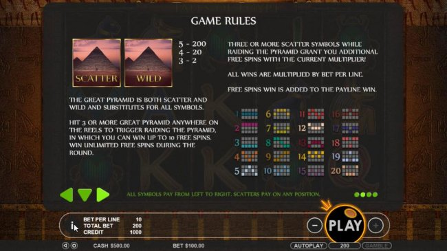 Free Slots 247 - The Great Pyramid is both scatter and wild and substitutes for all symbols. Hit 3 or more great pyramid anywhere on the reels to trigger raiding the Pyramid, in which you can win up to 10 free spins.