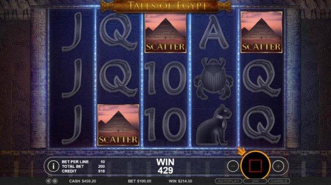 Three scatter symbols triggers the Raid the Pyramid round. - Free Slots 247