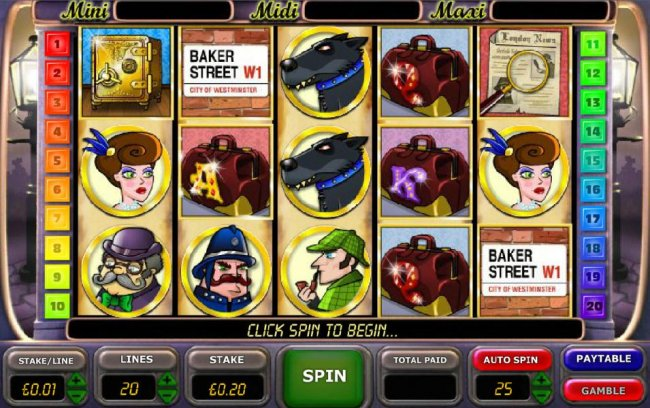 main game board featuring five reels, twenty paylines and a gamble feature - Free Slots 247