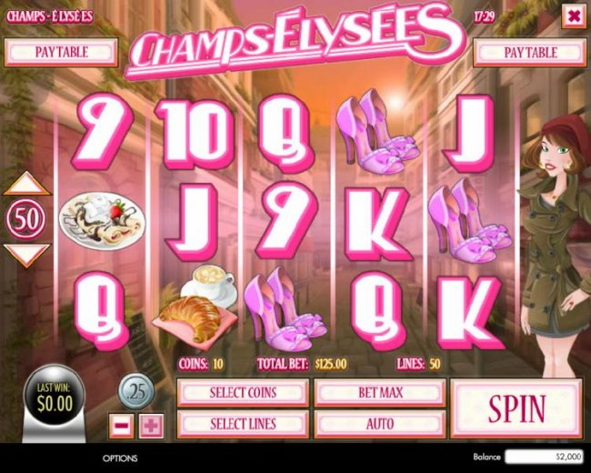 Main game board featuring five reels and 50 paylines with a $160,000 max payout - Free Slots 247