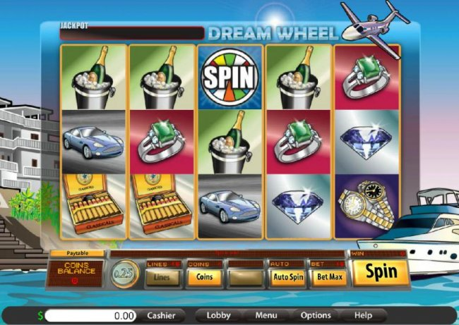Main game board featuring five reels and 15 paylines - Free Slots 247