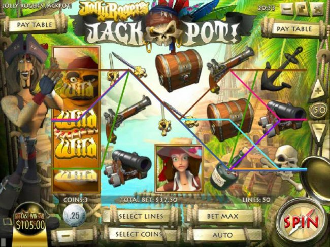 Free Slots 247 - expanding wild triggers a $105 jackpot