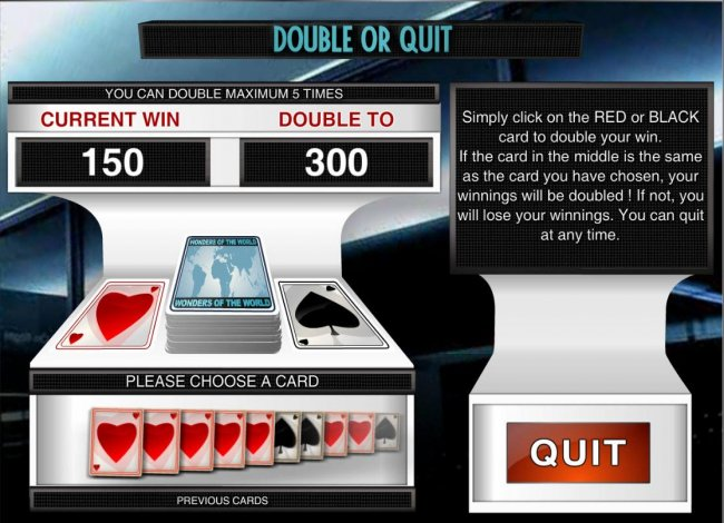 Double or Quit - Simply click on RED or BLACK card to double your winnings. - Free Slots 247
