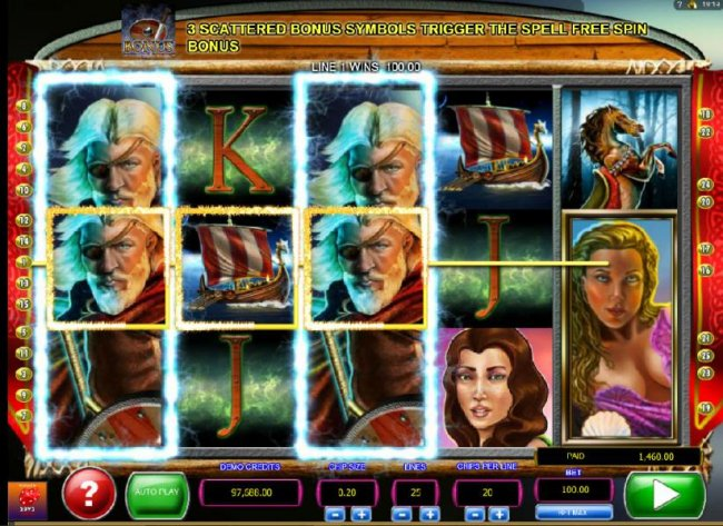 Free Slots 247 - Multiple winning paylines triggered by Odin stacked wild symbols leads to a 1,460.00 payout