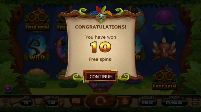 10 free spins have beeen awarded - Free Slots 247