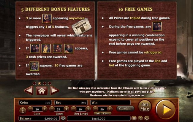 Free Slots 247 - Game features 5 different Bonus features and 10 Free Games.