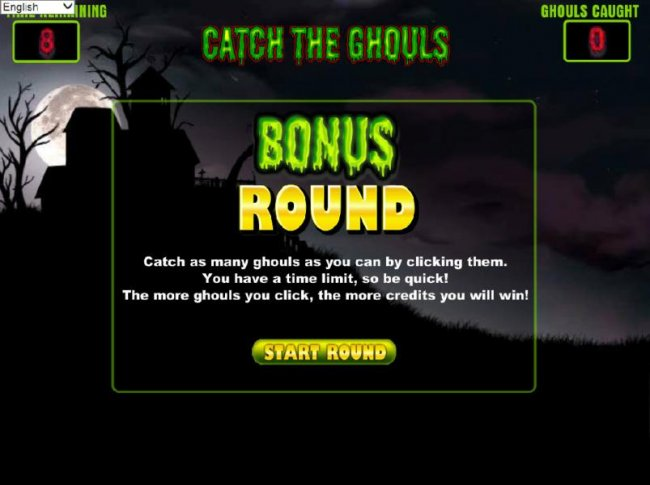 bonus round - catch as many ghouls as you can by clicking them. you have a time limit, so be quick! the more houls you click, the more credits you will win. by Free Slots 247