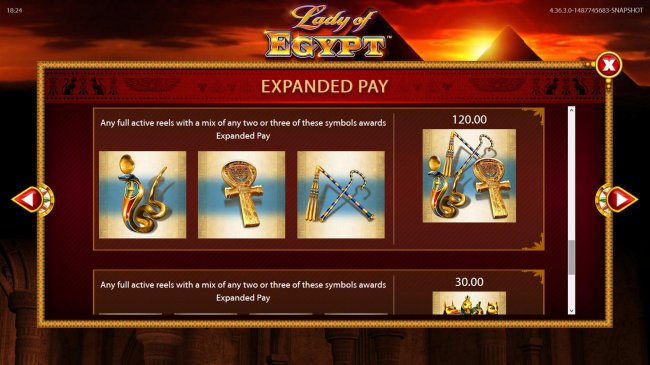 Free Slots 247 - Any full active reels with a mix of any two or three of these symbols awards expanded pay.
