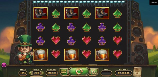 Main game board featuring six reels and 4096 winning combinations with a $500,000 max payout. by Free Slots 247