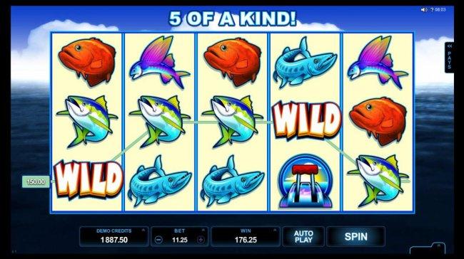 Free Slots 247 - A five of a kind triggers a 176.25 jackpot award.