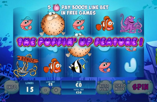 Free Slots 247 - Puffin Up Feature tiggerd when Blowfish land on center of 3rd reel