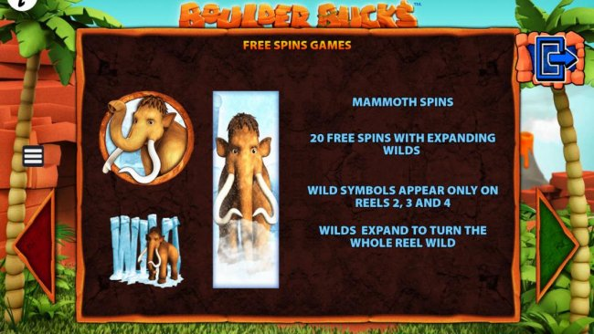 Free Spins Games - Mammoth Spins - 20 free spins with expanding wilds. Wild symbols appear only on reels 2, 3 and 4. Wild expand to turn the whole reel wild. by Free Slots 247