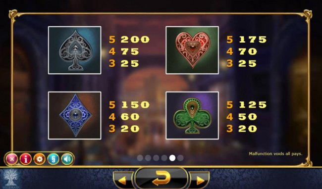 Low value game symbols include the card suits Spade, Heart, Diamond and Club - Free Slots 247