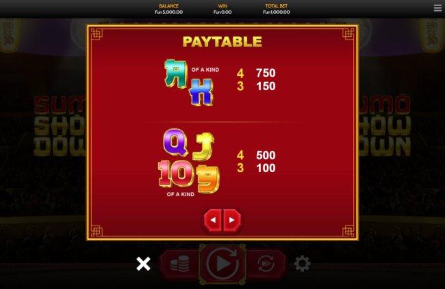 Paytable - Low Value Symbols - Free Slots 247