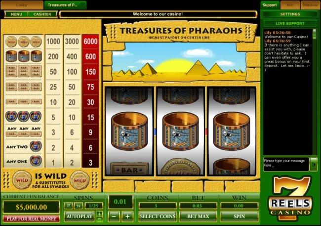 Treasure of Pharaohs 1 Line screenshot
